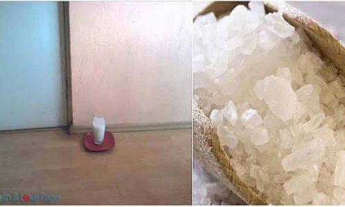 Plaats een glas water met zout, en azijn in je huis. Na 24 uur zul je zeer verrast zijn!