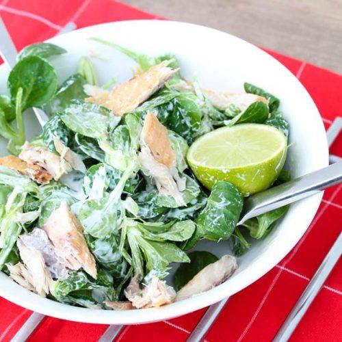 Gerookte makreelsalade met yoghurtdressing